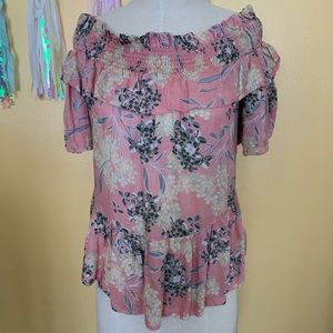 Beautiful Floral off shoulder Ruffle Blouse M New